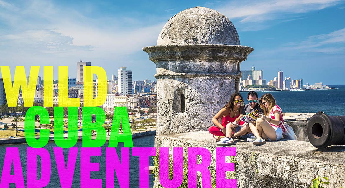 Threesome enjoy Havana's Morro Castle.